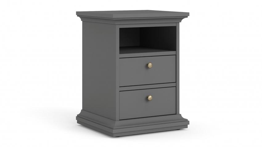PARIS-lipasto/yöpöytä 2-laatikkoa ja avo kapea harmaa