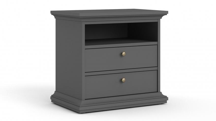 PARIS-lipasto/yöpöytä 2-laatikkoa ja avo leveä harmaa