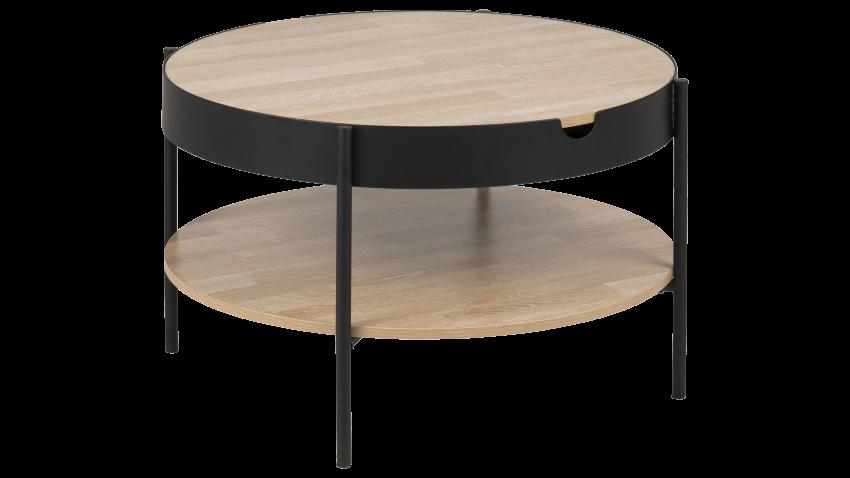 TIPTON-sohvapöytä 75 pyöreä tammi/musta