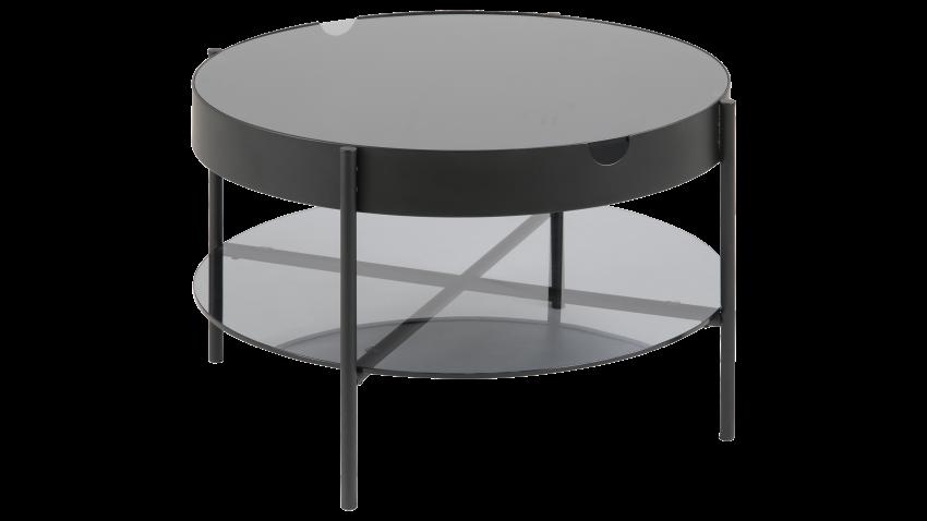 TIPTON-sohvapöytä 75 pyöreä lasi/musta