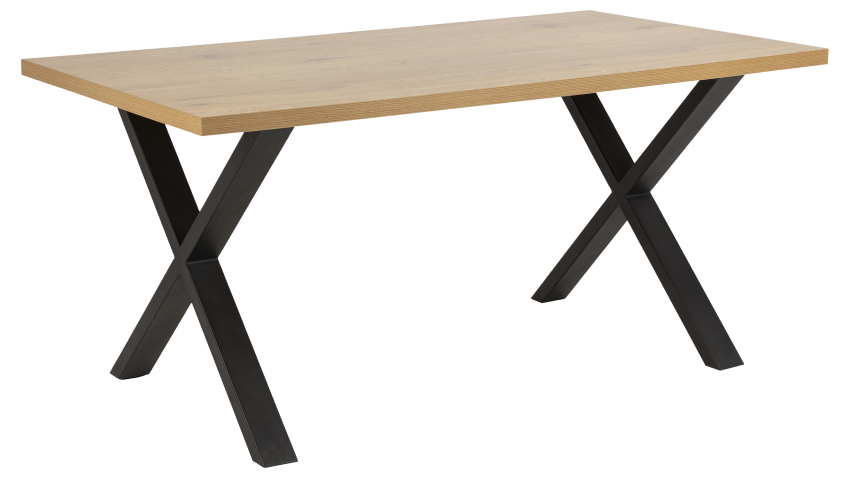 WALES-ruokapöytä X-jalalla tammi/musta