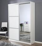 SAND-liukuovikomero 148/45 levy/peiliovilla, 148 x 45 cm (valkoinen/levy- ja peiliovi)