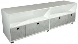 STONE tv-taso 4 laatikkoa (valkoinen/betoni)