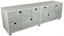STONE tv-taso 8 laatikkoa (valkoinen/betoni)