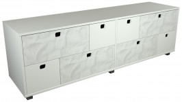 STONE tv-taso 8 laatikkoa (valkoinen/marmori)