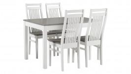 LIIA-ruokailuryhmä, 4:llä HUVILA-tuolilla (harmaa/valkoinen)
