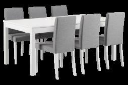 LIIA-ruokailuryhmä, 6:lla CAPRI-tuolilla (harmaa/valkoinen)