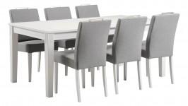 HUVILA-ruokailuryhmä, 6:lla VILA-tuolilla (harmaa/valkoinen)