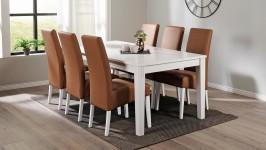 HUVILA-ruokailuryhmä, 6:lla GLORIA-tuolilla (valkoinen/ruskea)
