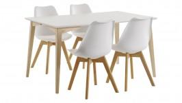 JADE-ruokailuryhmä, 4:llä BASE-tuolilla (valkoinen/tammi)