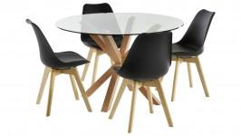 HEAVEN-ruokailuryhmä, 4:llä BASE- tuolilla (musta/tammi)