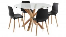 HEAVEN-ruokailuryhmä, 4:llä HONEY- tuolilla (musta/tammi)