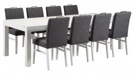 MONA- ruokailuryhmä, 8:lla ALINA- tuolilla (valkoinen/antrasiitti)
