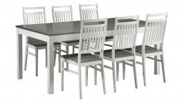 MONA-ruokailuryhmä, 6:lla MONA- tuolilla (harmaa/valkoinen)