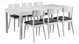 MONA-ruokailuryhmä, 6:llä NINA- tuolilla (harmaa/valkoinen)