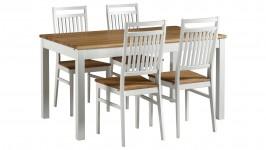 OONA-ruokailuryhmä, 4:llä tuolilla (valkoinen/tammi)