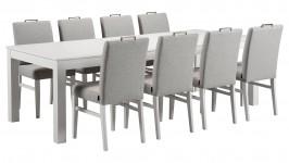 MONA-ruokailuryhmä, 8:lla ALINA-tuolilla (valkoinen/harmaa)