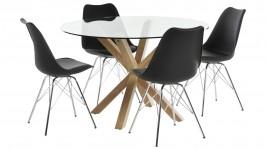 HEAVEN- ruokailuryhmä, 4:llä IIRIS- tuolilla (musta/tammi)