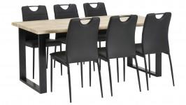 LAINE-ruokailuryhmä, 6:lla Diana-tuolilla (musta/tammi)