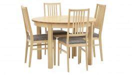 LISA-ruokailuryhmä pyöreä, 4:llä verhoillulla tuolilla (pyökki)