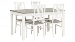 LISA-jatko ruokailuryhmä, 4:llä tuolilla (harmaa/valkoinen)