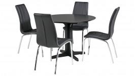 METTE-ruokailuryhmä pyöreä keskijalalla, 4:llä CASE-tuolilla (musta)