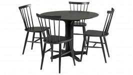 METTE-pyöreä ruokailuryhmä, 4:llä IINA tuolilla (musta)