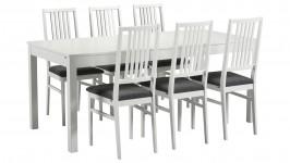 LISA-jatko ruokailuryhmä, 6:lla verhoillulla tuolilla (valkoinen)