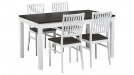 IIDA-jatko ruokailuryhmä, 4:llä tuolilla (valkoinen/smoked tammi)