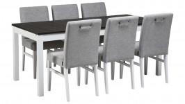 OONA-jatko ruokailuryhmä, 6:lla Salla-tuolilla (valkoinen/smoked tammi)