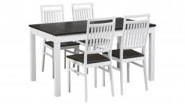 OONA-jatko ruokailuryhmä, 4:llä tuolilla (valkoinen/smoked tammi)