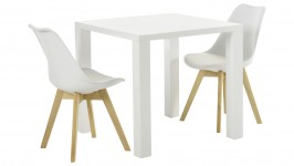 WHITE-ruokailuryhmä, 2:lla BASE-tuolilla (valkoinen/tammi)