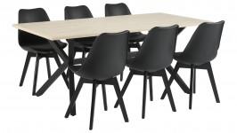 LAX-ruokailuryhmä, 6:lla BASE-tuolilla (musta/tammi)