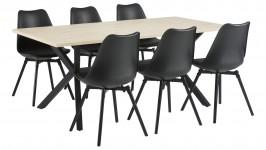 LAX-ruokailuryhmä, 6:lla CAFE-tuolilla (musta/tammi)