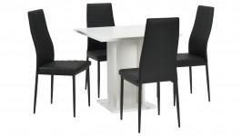 SARA-ruokailuryhmä, 4:llä tuolilla (valkoinen/musta)