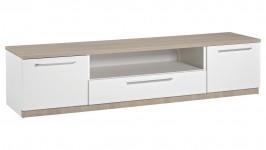 MONACO tv-taso, 180 cm 2 ovea + laatikko (valkoinen/tammi)